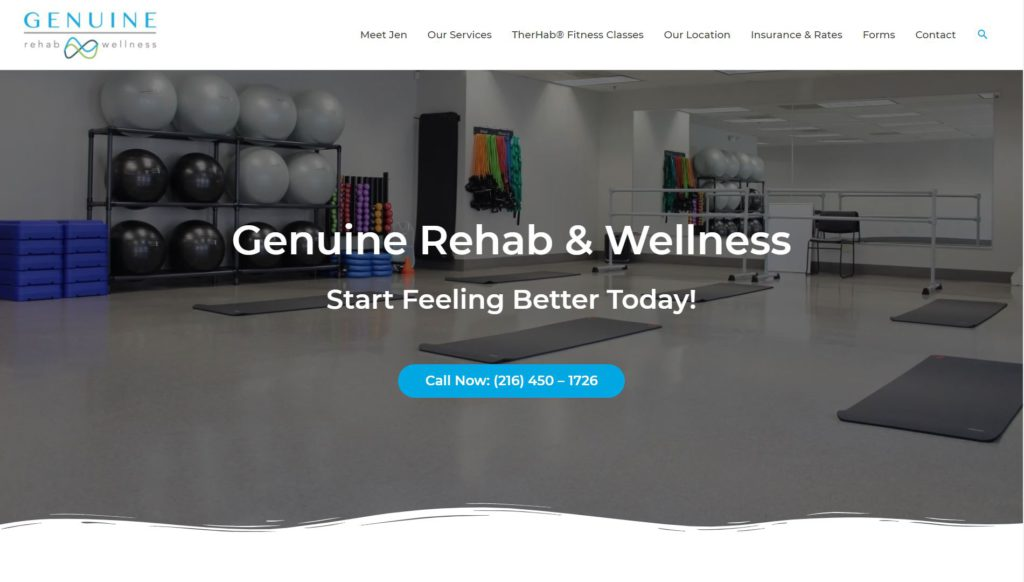 Genuine Rehab and Wellness home page