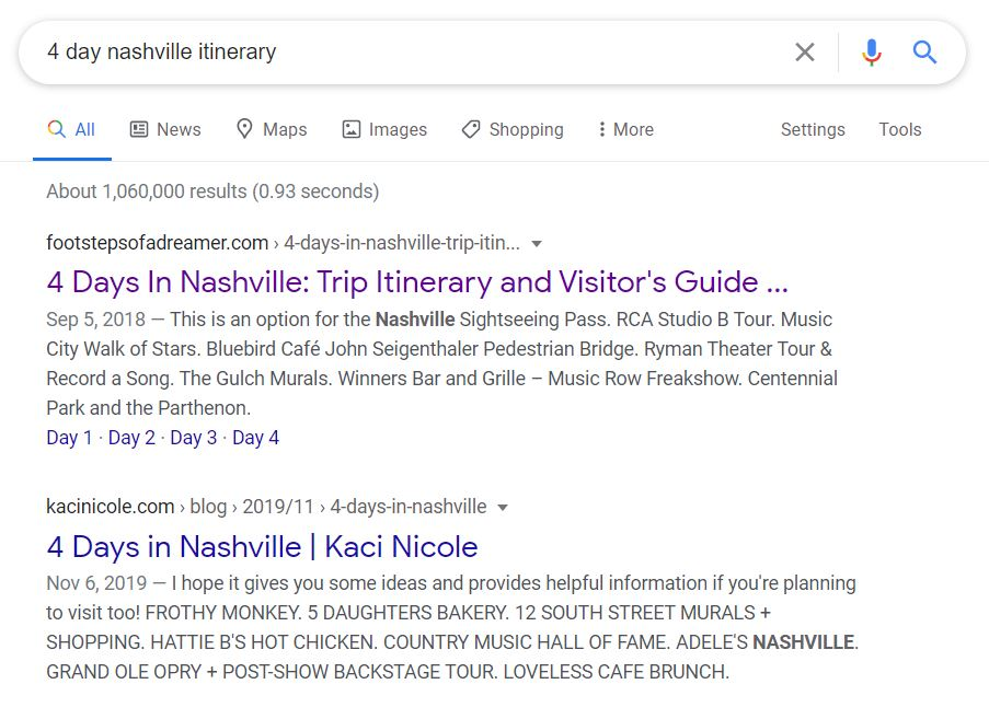 "Google search results for ""4 Day Nashville Itinerary"""