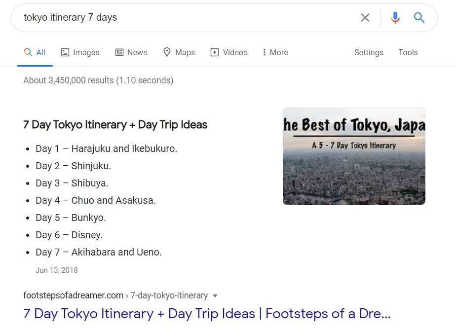 "Google search results for ""Tokyo itinerary 7 days"""