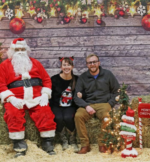 Zach and Celeste with Santa